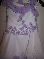 NWT Girls PERFECT ANGEL 1187 Pageant Dance Dress Gown White Lilac 5T