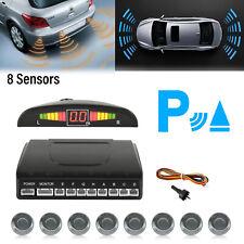 Reverse Front & Rear Parking Sensor Kit 8 Sensors Buzzer Alarm LED Display Grey
