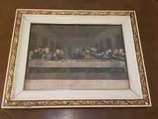 "Antique 9"" X 12"" CURRIER & IVES 'The Last Supper' Art Print in Antique Frame OLD"