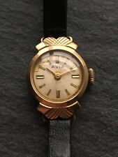 Vintage 9ct Yellow Gold Ladies 17 Jewel Avia Wristwatch Mechanical Watch WORKING
