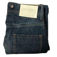 SUPERDRY Men's Sz W30 L32 Blue Riveted Grip Button Fly Denim Cargo Pant Jeans