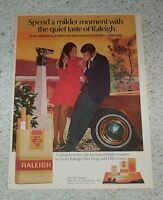 1971 print ad page -Raleigh cigarettes- man girl smoking telescope tobacco AD