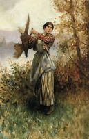 Oil painting A Pheasant in Hand Young Countrywoman with bird