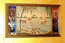 Vtg. 26x44 TURNER Pink FLAMINGOS Airbrushed Linen Mid Century Etched Glass Frame