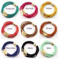 Suede Leather Magnetic Clasp Bracelet Multi Layer Copper Tube Velvet Bracelets