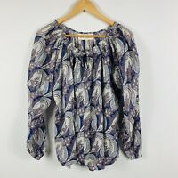 Isle Of Mine Womens Shirt Top Size S/M Floral Paisley Long Sleeve Boho Stretch
