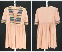 Womens Maje Lazlo Pink Lace Up Embellished Casual Dress Cotton Size 3 / UK12
