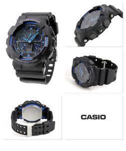 Casio G-Shock Men'S Watch GA-100-1A2ER Black and Blue Protection Sport Digital