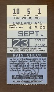 1988 Jose Canseco First player in MLB History to reach 40-40 ticket stub Oakland