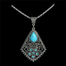 New Women's Tibetan Silver Turquoise Floral Flowers Necklace Pendant Jewellery