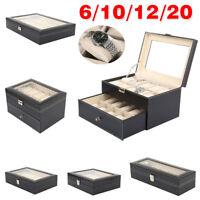 6/10/12/20 SLOTS WATCH JEWELRY DISPLAY CASE STORAGE HOLDER BOX ORGANIZER GIFT
