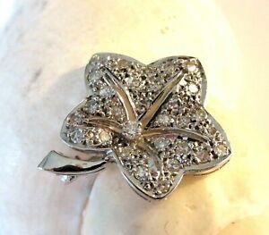 585/14 ct Gold Einzigartige Brosche Brillant Diamant 0,35 ct Efeu Blatt