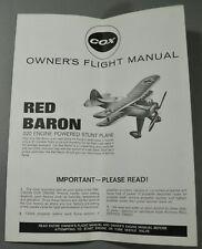 VINTAGE ORIGINAL COX RED BARON STUNT PLANE OWNER'S MANUAL + ENGINE MANUAL