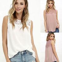 Women Fashion Summer Lace Vest Tank Soft Top Crochet Lady Chiffon T-Shirt Blouse