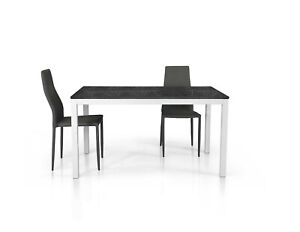 Table Folding Or With 1 Extensions, Base Metal, Plan Ennobled Finished Marble