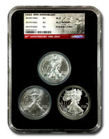 """2016 American Silver Eagle """"30th Anniversary"""" 3-Coin Set - Mint State, Burnished"""