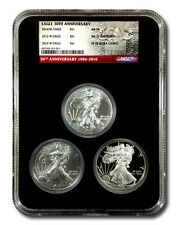"""2016 American Silver Eagle """"30th Anniversary� 3-Coin Set - Mint State, Burnished"""