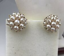Vintage Antique Amazing Cluster Pearl 14k Solid Yellow  Gold Earrings