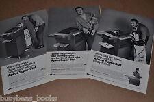 1968 Apeco photocopier advertisements x3, APECO Copier, golf pro Arnold Palmer