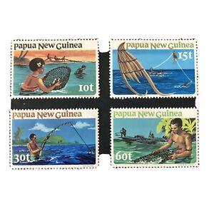 PAPUA NEW GUINEA, SCOTT # 545-548(4),COMPLETE SET 1981 FISHING ISSUE MVLH