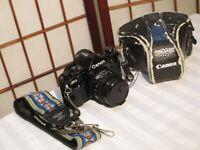 CANON A-1 SLR 35mm FILM CAMERA w CANON FD 1:1.8 f=50mm, CASE, FILTER & STRAP
