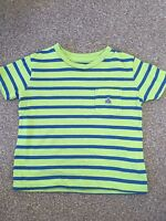 Boys Green Blue Stripy Baby Gap Short Sleeve T-Shirt Size 6-12 Months B1