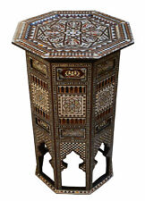 """Vintage Moroccan 30"""" H Wood Side Table, Coffee End Table, Mother of Pearl inlaid"""