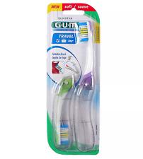 GUM Folding Travel Soft Toothbrush Antibacterial Bristles Compact Green & Purple