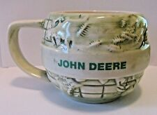 John Deere THINK GREEN EARTH DAY World Globe Stoneware Mug Cup B.K. Inc USA jd