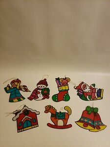 Christmas Tree Ornaments Stain Glass Lot of (7) Decorations Horse Santa Snowman