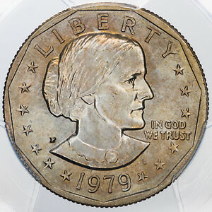 1979-P SUSAN B. ANTHONY $1 DOLLAR PCGS MS65 GREAT LUSTER COLOR TONED BEAUTY
