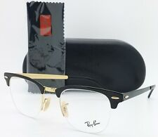 NEW RayBan RX Clubmaster Frame RX3716VM 2890 50 Black Gold AUTHENTIC Metal 3716