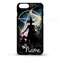 Witch witches magic black cat magic pentagram personalised name phone case cover