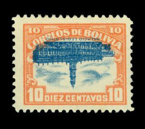 BOLIVIA 1916  Bolivian Parliament  10c  INVERTED CENTER  Scott # 116c mint MH