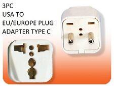 3PK US USA to EU Europe Power Plug Adapter American To European Socket Type C