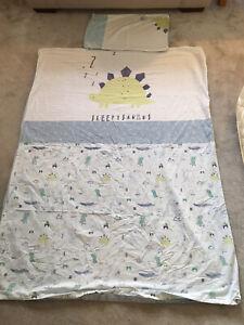 Boy Toddler Bedding Set Blue Sleepysaurus 120 X 150