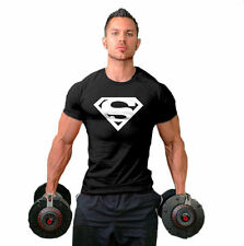 New Men Collection Superman Sport Gym T-Shirt Bodybuilding Fittness Cotton Shirt