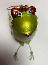 Whimsical Frog Bearing Gift Ornament Mouth-Blown with Tutu dangly legs VINTAGE