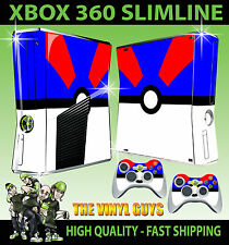 XBOX 360 SLIM Autocollant Grand Pokeball Bleu Blanc Pokemon Go Skin & 2 x Pad Peau