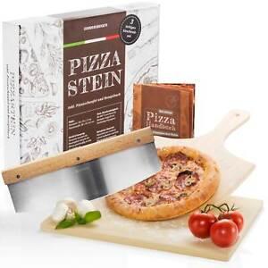 Pizzastein Set DELUXE Pizza Stein aus Cordierit + Pizzaschaufel + Pizzaschneider