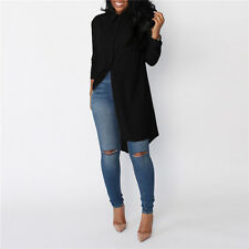 Women's Long Sleeve Chiffon Tunic Bloues Shirt Tops Ladies Casual Mini Dresses