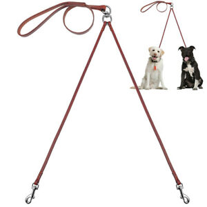 Pet Artist Soft Leather Double Dog Leads 2 Way Leash for Small Dog Puppy Walking