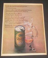 1966 Rainier Ale Print Ad, Beer Can & Mug, Vintage Breweriana