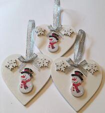 3 X Snowman Christmas Decorations Handmade Shabby Chic Wood Silver White