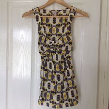 LADIES 'TEDBAKER' BRAND NEW GEOMETRIC BLUE/YELLOW TOP. SIZE 8/TEDBAKER SIZE 1.