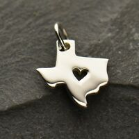 .925 Sterling Silver Texas State Charm - Heart of Texas Pendant NEW