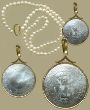 14k Slider Bale Rnd.Pendant Lovely FIGURE SCENE c1780 Engraved Chinese Mof Pearl