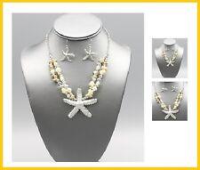 Starfish Nautical Pendant Sealife Necklace Metal Bead Beaded Statement Silver