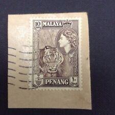 MALAYA Penang Queen Elizabeth II 1957 Tiger 10cents  Used