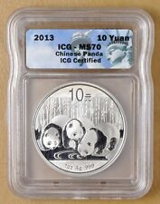 2013 China 1 oz Silver Panda 10 Yuan ICG MS70